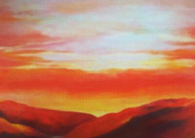 Crimson Sunset Aoteroa by Marilyn Austin